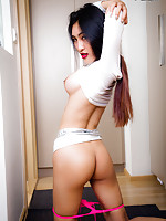 Yuki is a hot tgirl with a sexy slim body, big juicy tits, a firm ass and a delicious uncut cock! Watch this sexy transgirl stroking her hard cock!