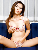 Asian Post-op Jenny teases and fingers snatch in lingerie